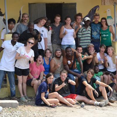 Global Gap Year programme volunteers take a group photo in Ghana